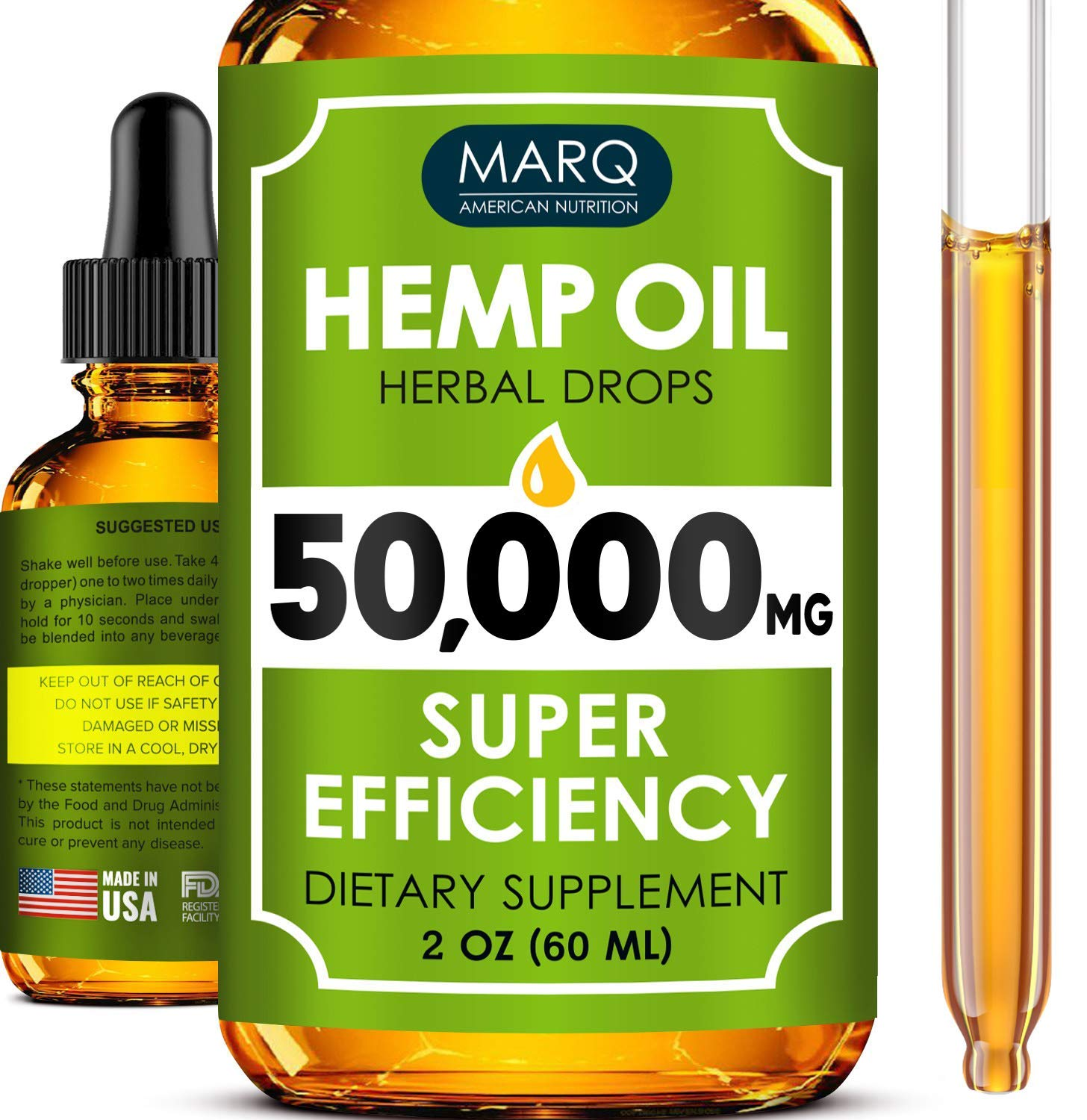 Hemp Oil Drops (50000MG) - Best Natural Hemp Seed Oil - Premium Colorado Seed Extract - Only Natural Ingredients - for Pain and Inflammation Relief, Reduces Stress and Anxiety, Provides Restful Sleep by MARQ Nutrition