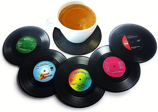 Compra BlueBeach® 6 Piezas Posavasos Retro CD Record Vinyl Mat Tabla Mantel Coaster Copa Sostenedor para Bebidas / Café / Té en Amazon.es