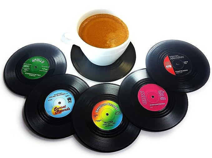 1 opinioni per BlueBeach® Set di 6 Retrò CD Bevande Vinile Sottobicchieri Vasellame per le