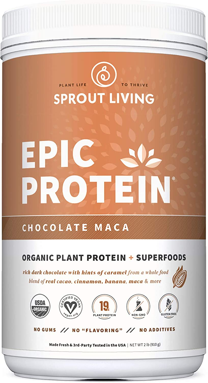 Epic Protein, Organic Plant Protein + Superfoods, Chocolate Maca | 19 Grams Vegan Protein, Gluten Free, No Gums, No Flavoring (2 Pound, 26 Servings)