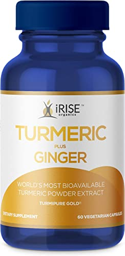 iRise Organics Turmeric Plus Ginger Capsules Organic Turmeric Curcumin Supplement with Ginger and Black Pepper – TurmiPure Gold for Joint Health Antioxidant Turmeric Ginger Caps – 60 Count