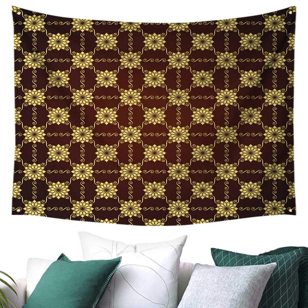 """Tapestry Wall Hanging,Gold Vintage Flower and Swirl Pattern on Pastel,for Both Indoor and Outdoor use 80""""× 60"""""""