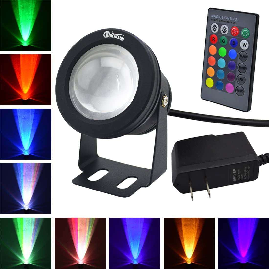 RUICAIKUN LED Flood Light 10W Waterproof Outdoor US Plug RGB Light with Remote Control DC AC 12V ,Above Ground LED Spotlights
