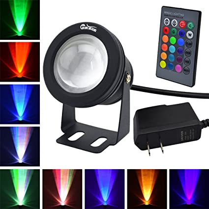 RUICAIKUN LED Flood Light 10W Waterproof Outdoor US Plug RGB Light with Remote Control (DC/AC 12V),Above Ground Pool Light best LED accent lights