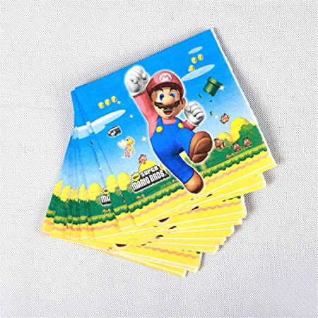 QAnter 20 unids/Pack servilletas Desechables Super Mario Bros decoración de Fiesta de cumpleaños de Super Mario Bros vajilla desechable Super Mario Bros: Amazon.es: Hogar