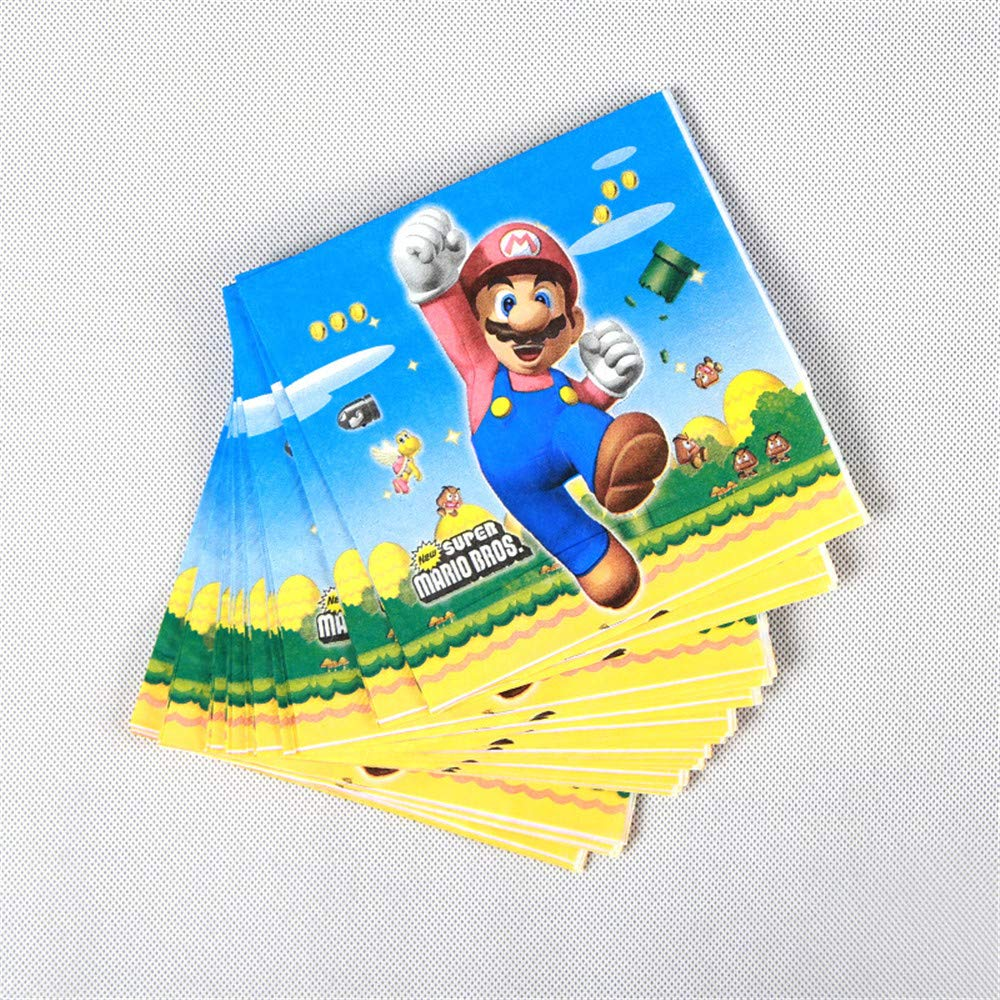 QAnter 20 unids/Pack servilletas Desechables Super Mario ...