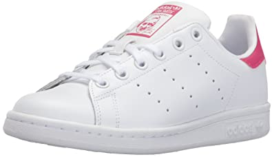 adidas Originals Girls\u0027 Stan Smith J Shoe, White/White/Bold Pink,