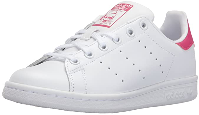 adidas Originals Girls' Stan Smith J Shoe, White/White/Bold Pink, 6.5 M US Big Kid