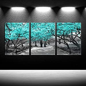iKNOW FOTO 3 Pieces Canvas Wall Art for Bedroom Black White and Teal Cherry Blossom Trees Picture Giclee Prints Home Decor Modern Framed Artwork for Dining Room Kitchen Bathroom Office 12x16inchx3