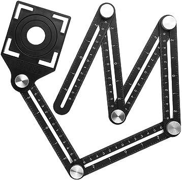 2 PCs 6 Sided Angle Measuring Ruler,Multi Angle Measuring Tool,Aluminum Alloy Angle Measuring Ruler,Universal Opening Locator Measurement Tool