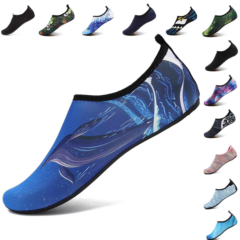 VIFUUR Men Women Water Shoes Barefoot Skin Shoes for Run Dive Surf Swim Beach Yoga Dolphin Blue 44/45