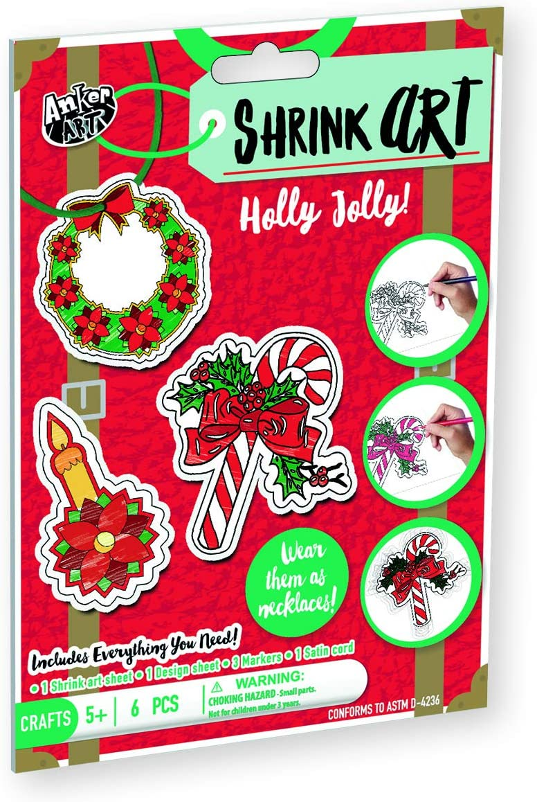 Amazon Com Shrink Art For Christmas Diy Easy Craft Activity Kit For Kids Best Stocking Stuffer Or Gift Idea For Holidays Make Xmas Ornaments Keychains Or Necklace Holly Jolly Arts Crafts Sewing