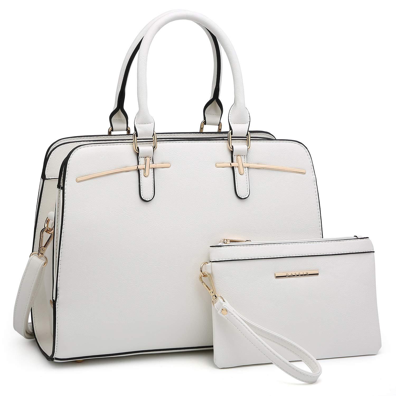 02 White Women Handbag Fashion Satchel Multi Pockets Purse 2 Pieces Set Triple Compartment Shoulder Bag Faux Leather