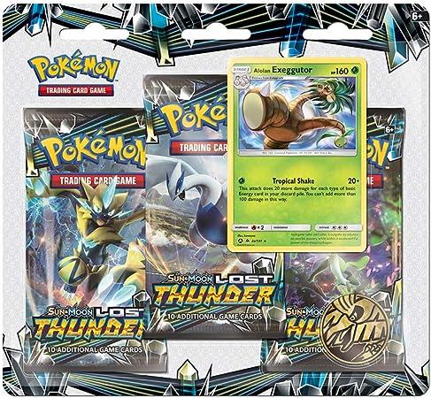 Pokemon TCG: Sun & Moon Lost Thunder 3 Pack Blister: Amazon.es ...