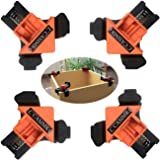 C CASIMR 90 Degree Corner Clamp, 4PCS Adjustable Single Handle Spring Loaded Right Angle Clamp,Swing Woodworking Clip Clamp T