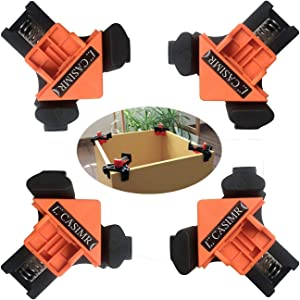C CASIMR 90 Degree Corner Clamp, 4PCS Adjustable Single Handle Spring Loaded Right Angle Clamp,Swing Woodworking Clip Clamp Tool