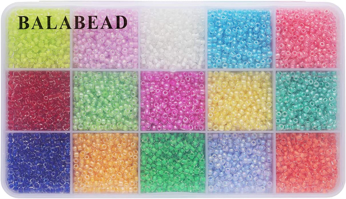 BALABEAD About 7500pcs in Box 8//0 Rainbow Colors Lined Glass Seed Beads 3mm Lustered Loose Spacer Beads About 500pcs//Color, 15 Colors