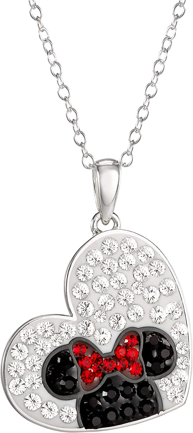 "Disney, Minnie Mouse Cubic Zirconia Heart Pendant Necklace, 18"" Chain"