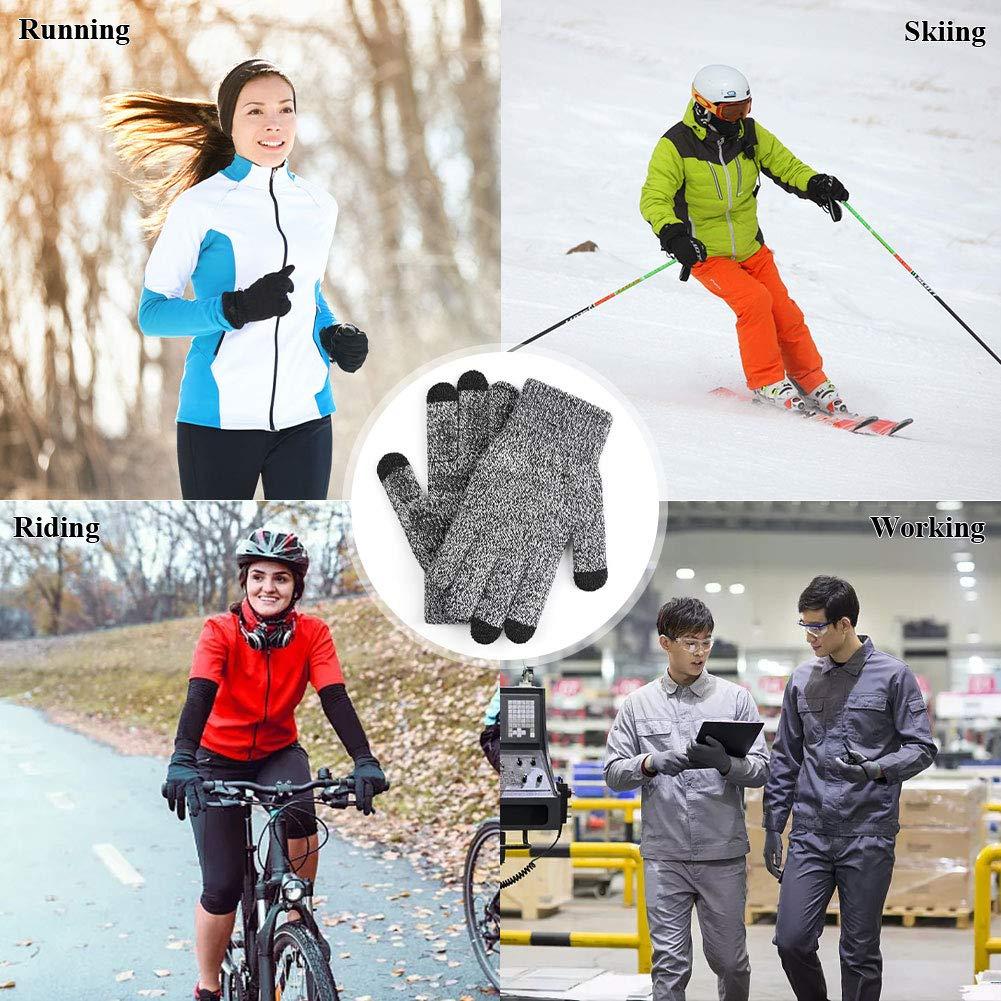 Dsaren Guantes de Pantalla T/áctil Invierno Antideslizante Calentar Guantes de Punto para Hombre Mujer Ciclismo Corriendo C/ámping Excursionismo Trabajo
