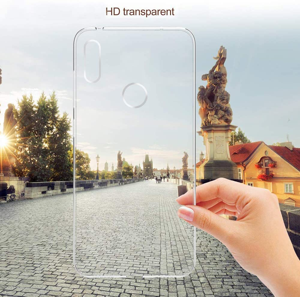 E-Lush Carcasa Transparente Suave TPU Silicona Funda Clear Ultra Delgado Antigolpes Antiaraazos Bumper Case Cover Funda para Huawei Y6 2019 Cristal Vidrio Templado Protector de Pantalla