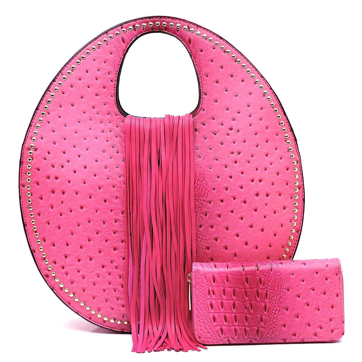 Handbag Republic Ostrich Embossed Round Satchel w Strap + Wallet Cherry