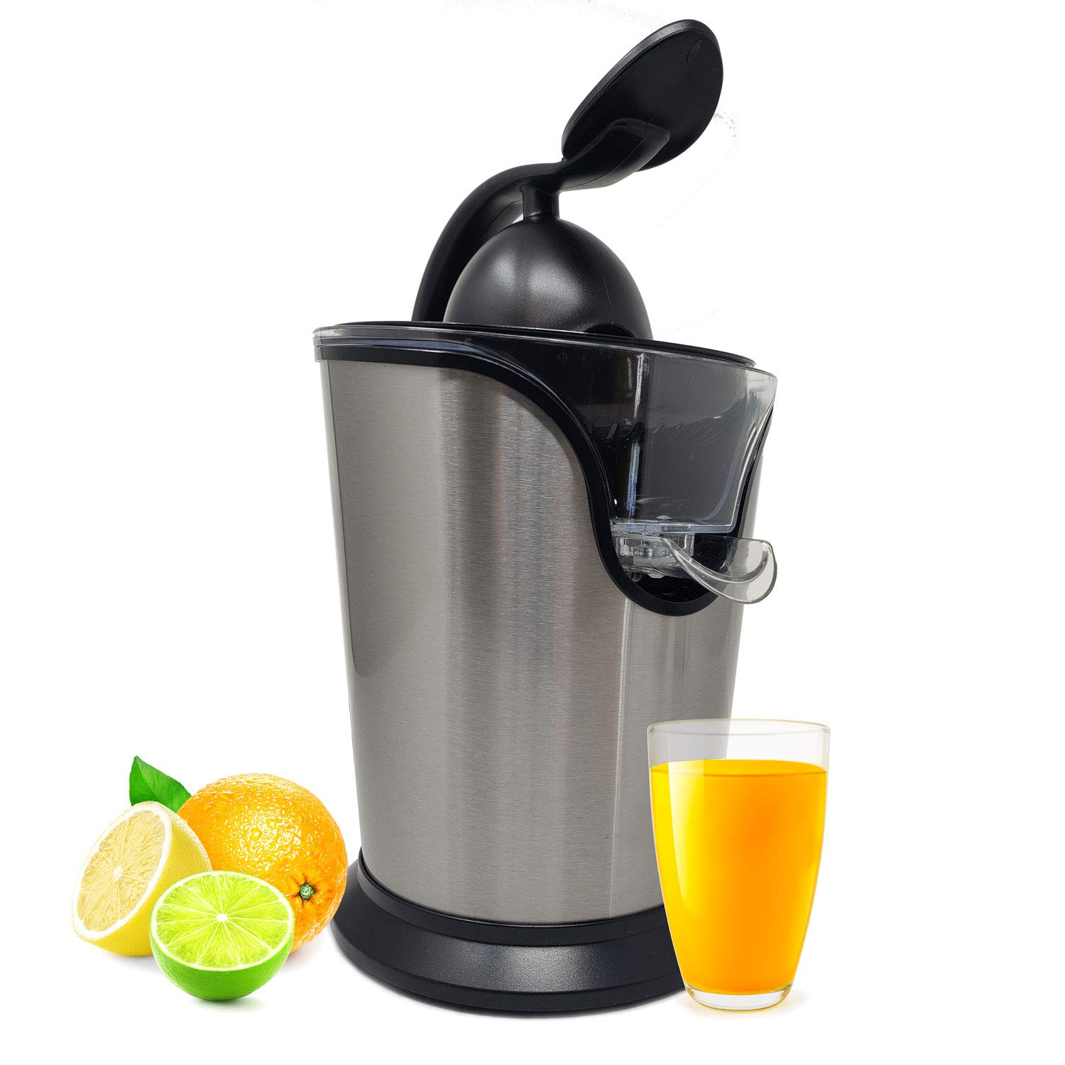 Electric Citrus Juicer Press Squeezer Stainless Steel - Ultra Quiet & Super Duty 85 Watt Motor Anti Slip & No Drip For Orange & Lemon