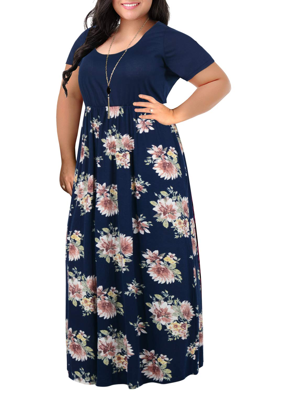 Nemidor Women's Chevron Print Summer Short Sleeve Plus Size Casual Maxi Dress (18W, Navy Print)
