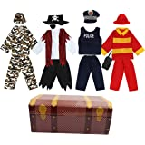 Toiijoy Boys Dress up Trunk 15Pcs Role Play Costume Set-PiratePolicemanSoldierFirefighter Costume for Kids Age 3-6yrs