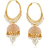Meenaz Fashion Jewellery Traditional Gold plated Pearl Crystal Jhumki Earrings for Women