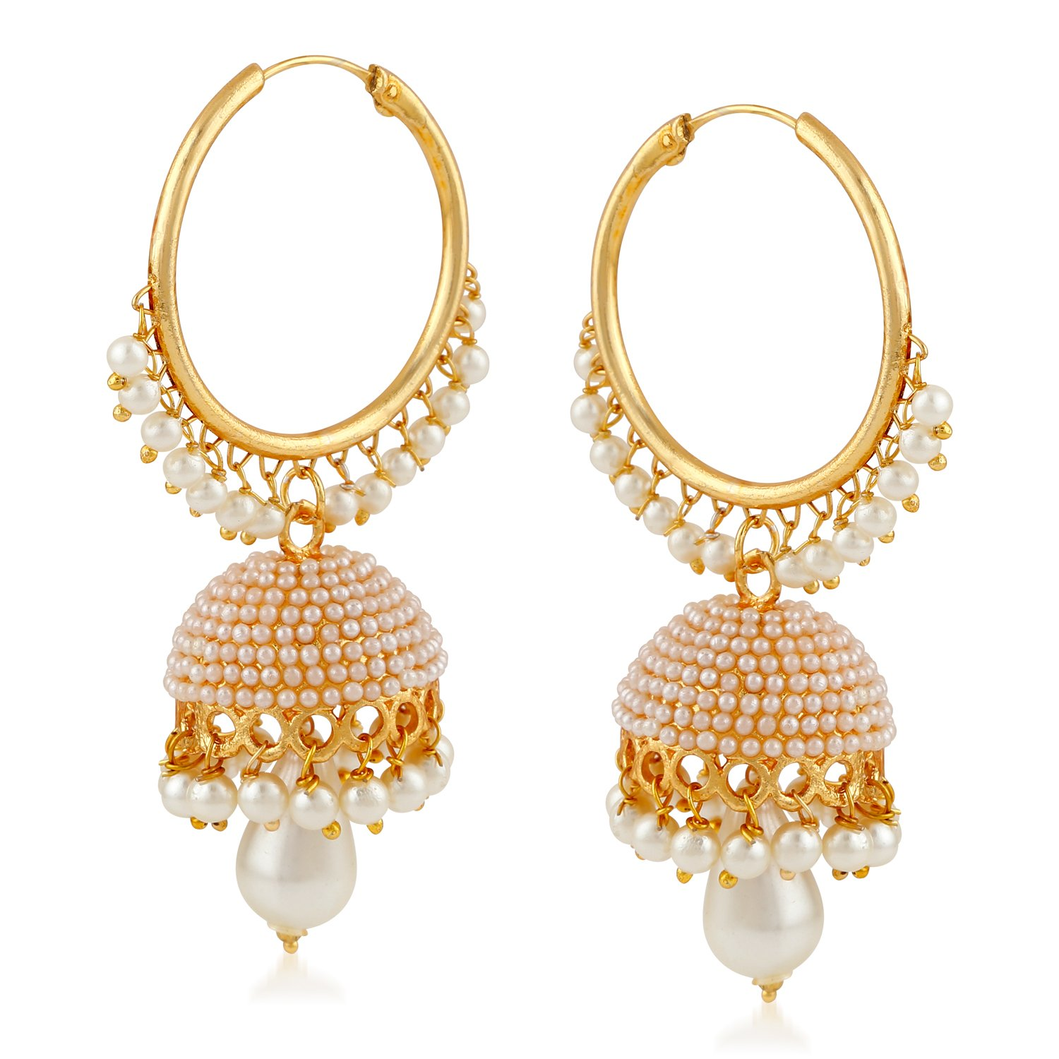 f8bac1ad MEENAZ Fashion Jewellery Traditional Gold Plated Pearl Crystal Jhumki  Earrings for Women
