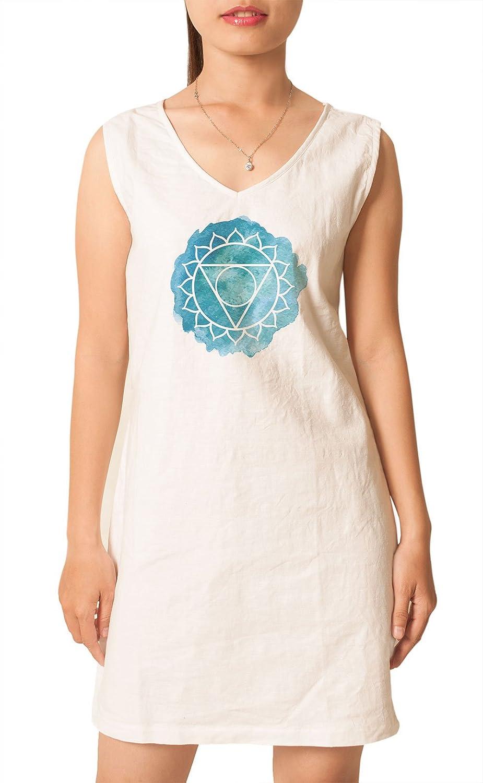 Vishuddha Chakra Printed Vintage V-neck Linen Mini Shift Dress WDS/_02 14