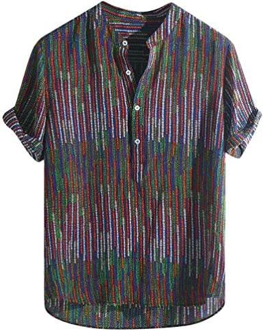 Pandapang Mens Dashiki Ethnic Style Tee Printed Top Long-Sleeve T-Shirts