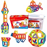 PlayLab 65 Piece Set Magnetic 3D Building Tiles Building Blocks Construction Play set Play board Creativity Recreational Educational Inspirational Imagination Toys, DELUXE SET with Storage Box