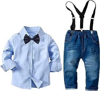 amropi Niños Ropa Conjunto A Cuadros Manga Larga Tops y Pantalones de Mezclilla 2 Piezas Trajes para años 2-8