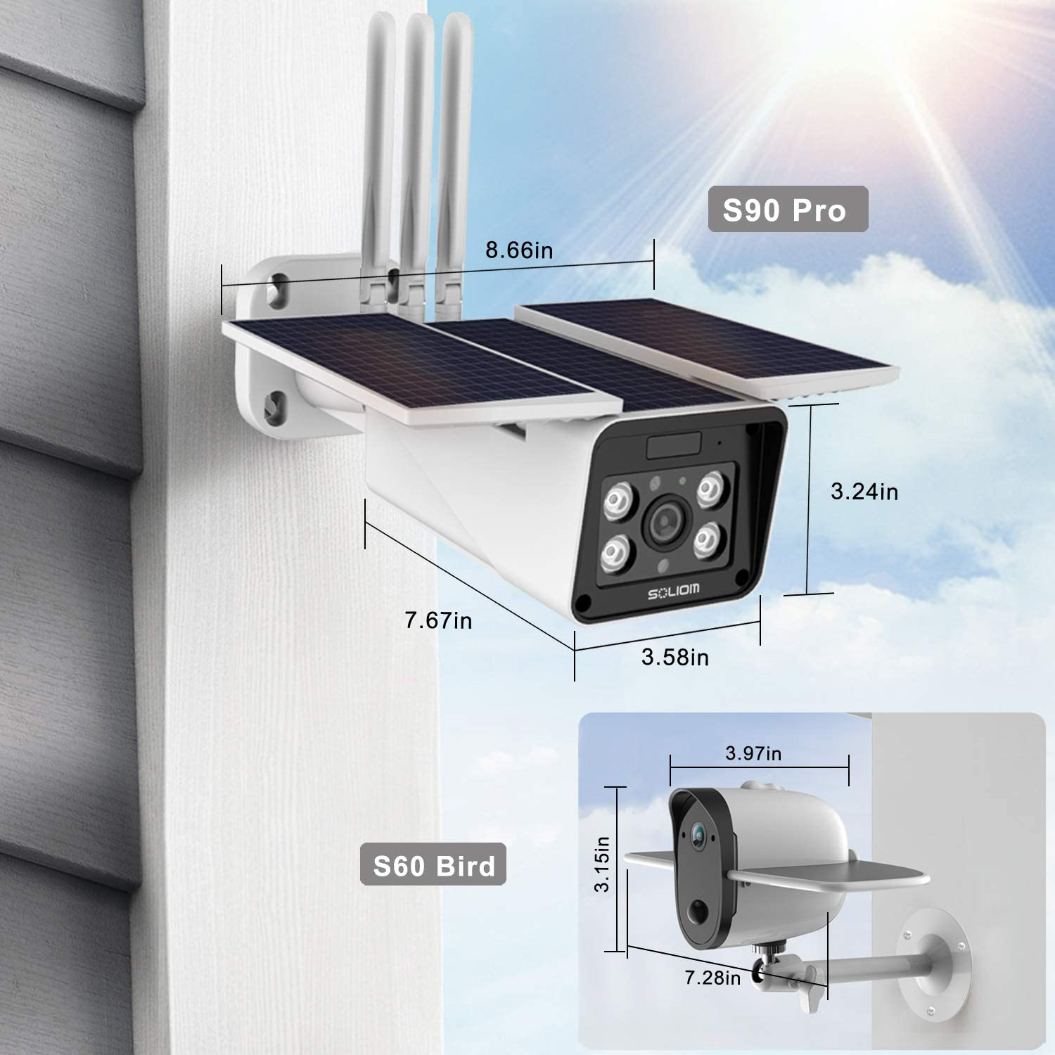 Outdoor Home Security Solar Battery Camera, Soliom S90 Pro 1080P Wireless Smart IP Cam with Night Vision, Two Way Audio and Accurate Motion Detection,Monitor with iOS, Android App – No Monthly Fee.