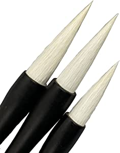 MasterChinese Chinese Calligraphy Watercolor Kanji Sumi Drawing Brush - Goat 3/pk -Charcoal