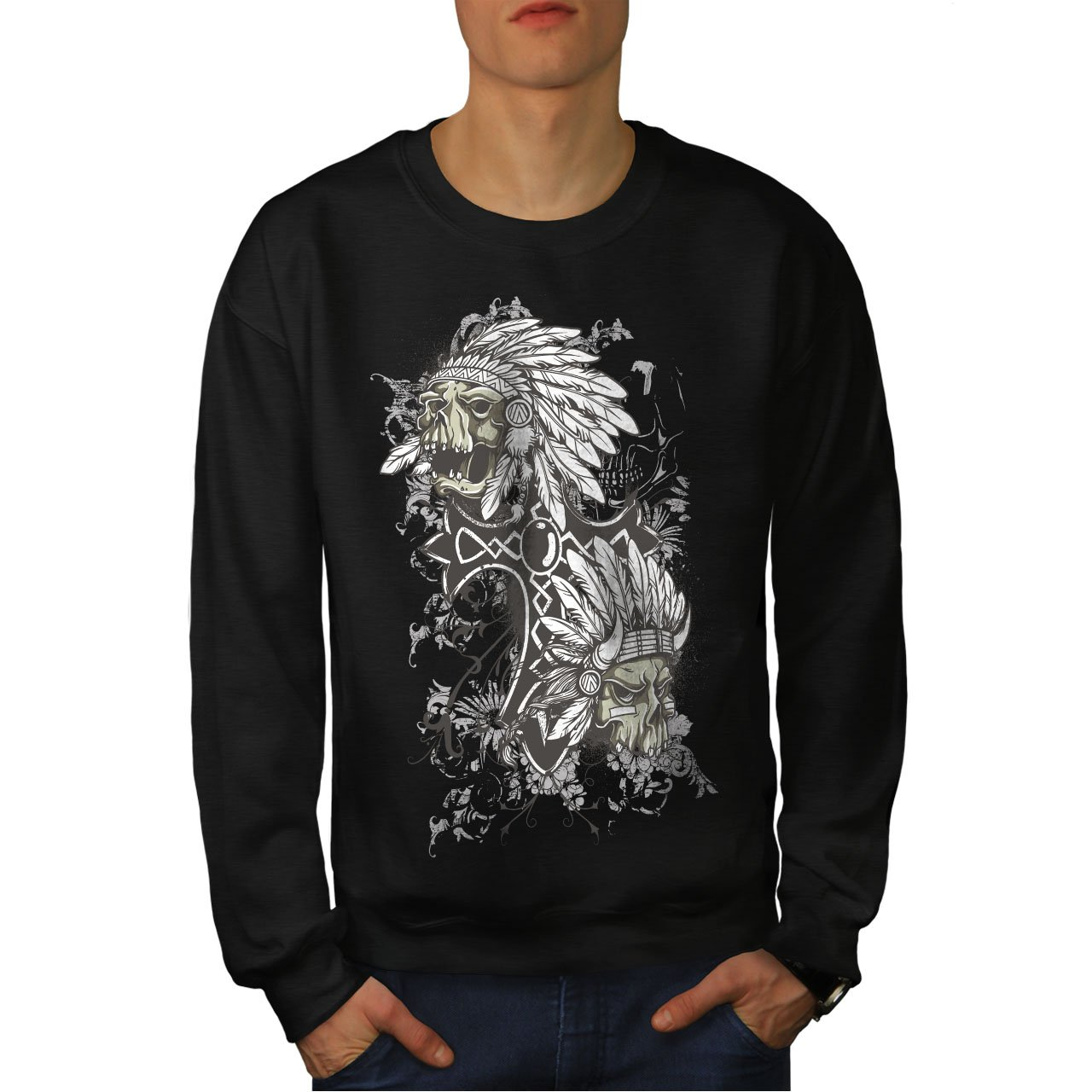 Native Casual Jumper wellcoda Evil Indian Head Skull Mens Sweatshirt