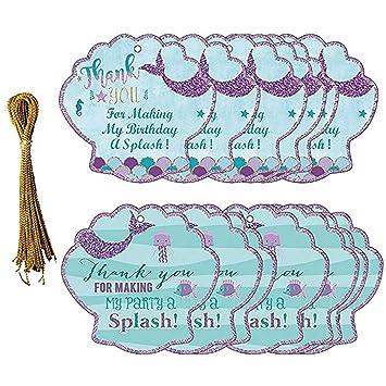 Jinle Lot De 24 étiquettes De Remerciement Cadeau Sirène