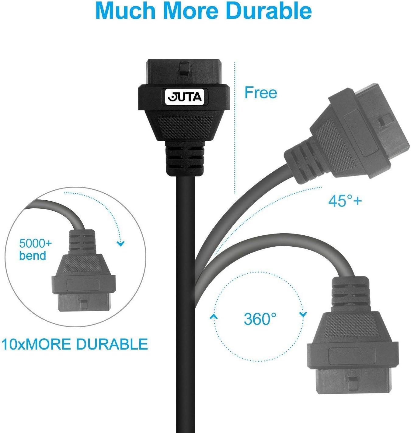 80cm 2.6ft Juta OBD2 16Pin Cable de extensi/ón macho a hembra Extensor de diagn/óstico