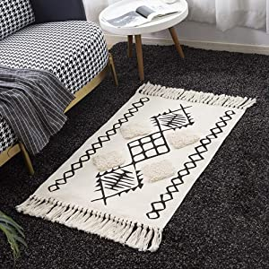 Wolala Home Morocco Cotton Hand Woven Rug Plaid Printed Area Rugs Tufted Tassels with Anti Skid Pad Throw Rug Machine Washable Black White Kilim Porch Mats 2'x3'
