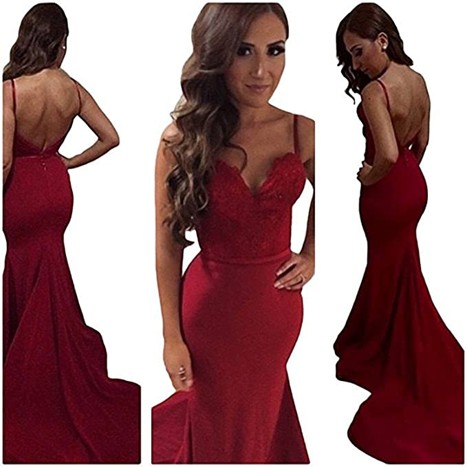 a19ca01dfe Vampal Red Spaghetti Strap Open Back Mermaid Prom Dress With Train   Amazon.ca  Clothing   Accessories