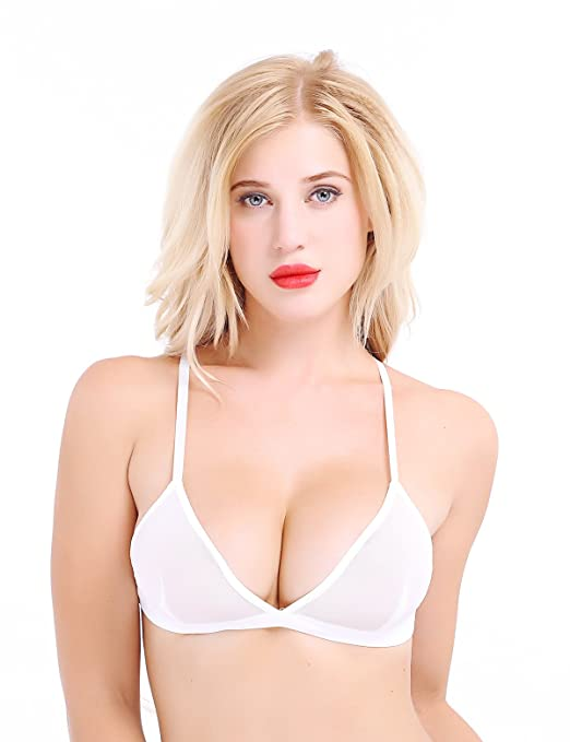 Amazon.com: iEFiEL Womens Sheer Mesh Triangle Bralette Wire-Free Bra: Clothing