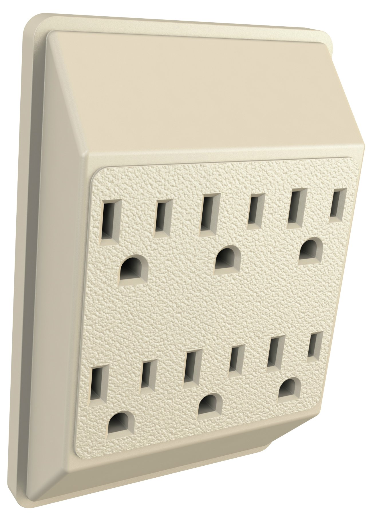 6 Outlet Extender Wall Adapter - Multi Plug Splitter Grounded Electrical Converter Slots for Heavy Duty Grounding for Kitchen, Household, Workshops, and Appliances