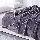 毛布 あったか 厚手 フランネル 掛け毛布 マイクロファイバー ブランケット 洗える (クイーン/キング・200X220cm, グレー)