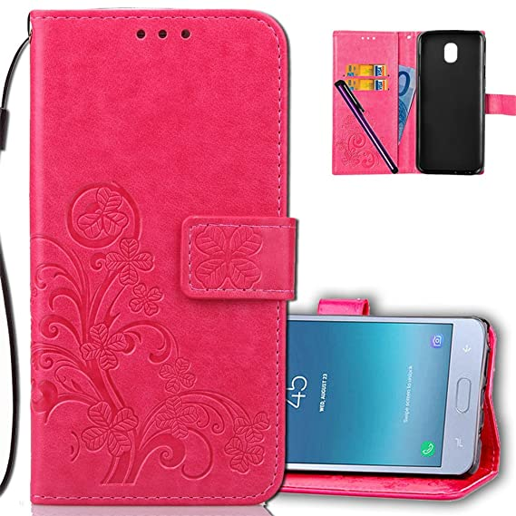 new arrival 69a22 dd62c Samsung J4 2018 Wallet Case Leather COTDINFORCA Premium PU Embossed Design  Magnetic Closure Protective Cover with Card Slots for Samsung Galaxy J4 ...