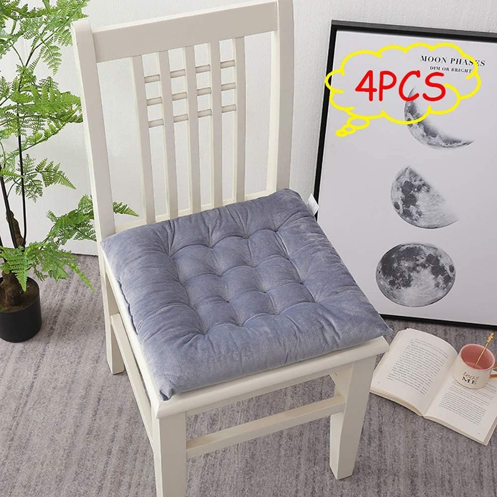 for Outdoor Garden//Office//Living Room 45 x 45cm 4 pcs Chair Seat Pads Dining Chair Portable Thicken Cotton Non-Slip Grey Seat Pad Cushion with Ties