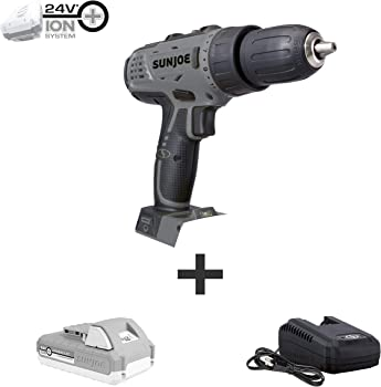 Sun Joe 24V iON+ Cordless Drill/Driver Kit with Battery and Charger