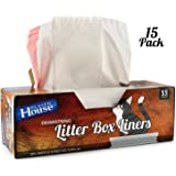 Cat Litter Box Liners   Drawstring Liner for Fast, Easy Cleanup   Strong, Thick Kitty Litter Bag is Tear Resistant and Nearly Indestructible   Heavy Duty Liner Measures 36 x 18 Inches (Pack of 15)
