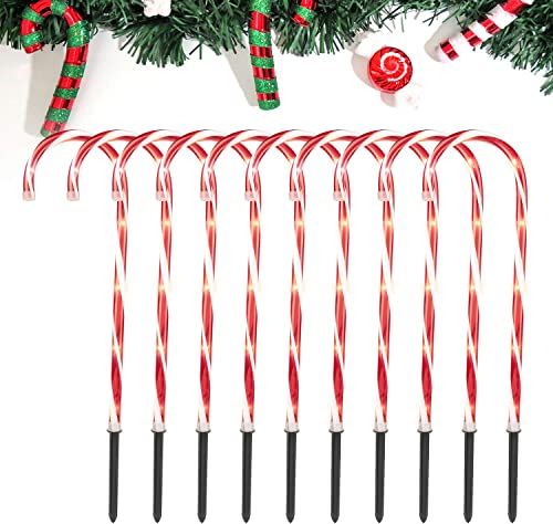 Christmas Candy Cane Pathway Lights 27 with Stakes Lighted Candy Cane Outdoor Markers Christmas Decorations, UL Listed for Holiday Xmas Walkway Patio Garden, 10 Pack
