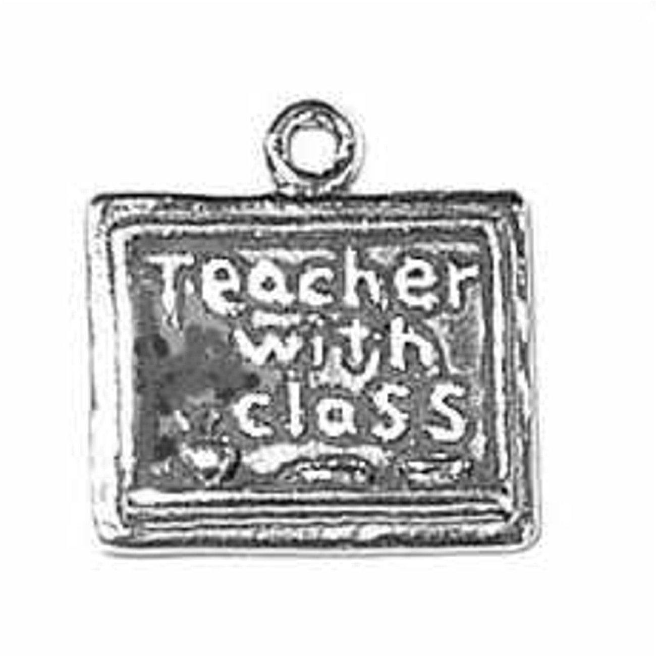 Sterling Silver 3D School Room Blackboard Dangle Charm Bead For Bead Charm Bracelet